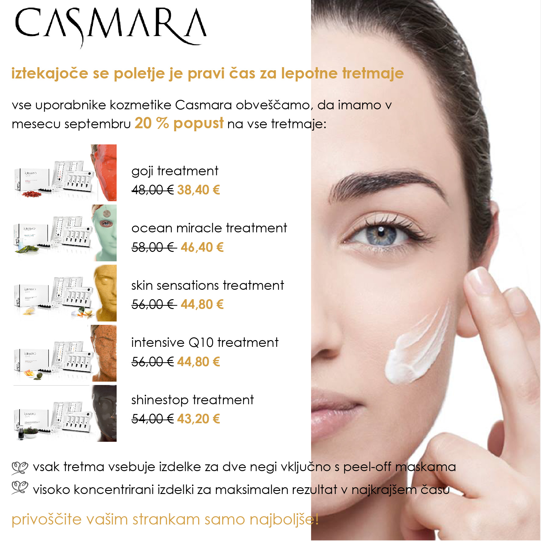 Promocijske cene Casmara treatments
